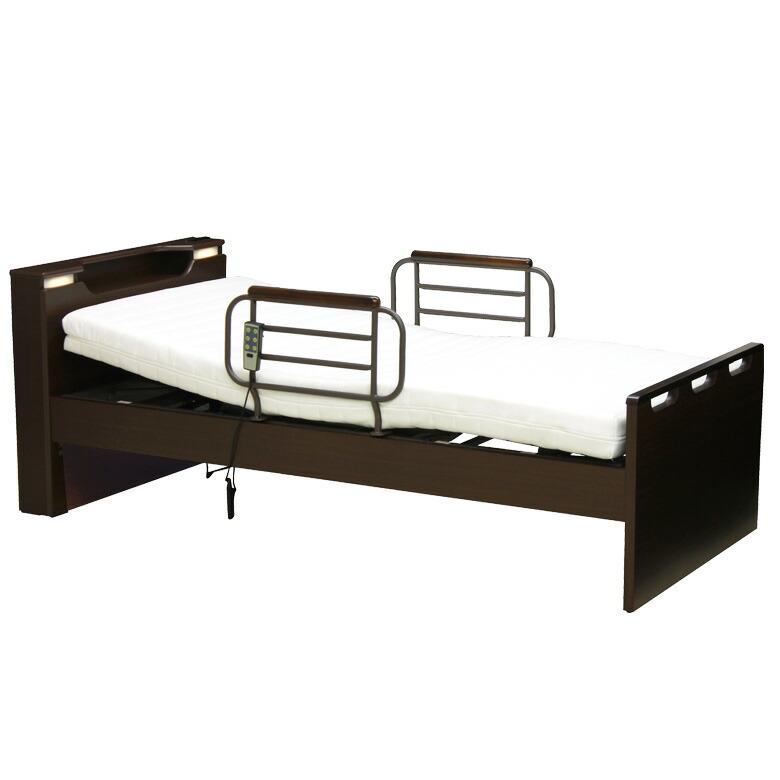 電動リクライニングベッド 2モーター シングル 電動ベッド リクライニングベッド 介護ベッド シングルベッド 木製ベッド 宮付き LEDライト付き フレームのみ 木製 ベッドフレーム ベッド ベット ダークブラウン