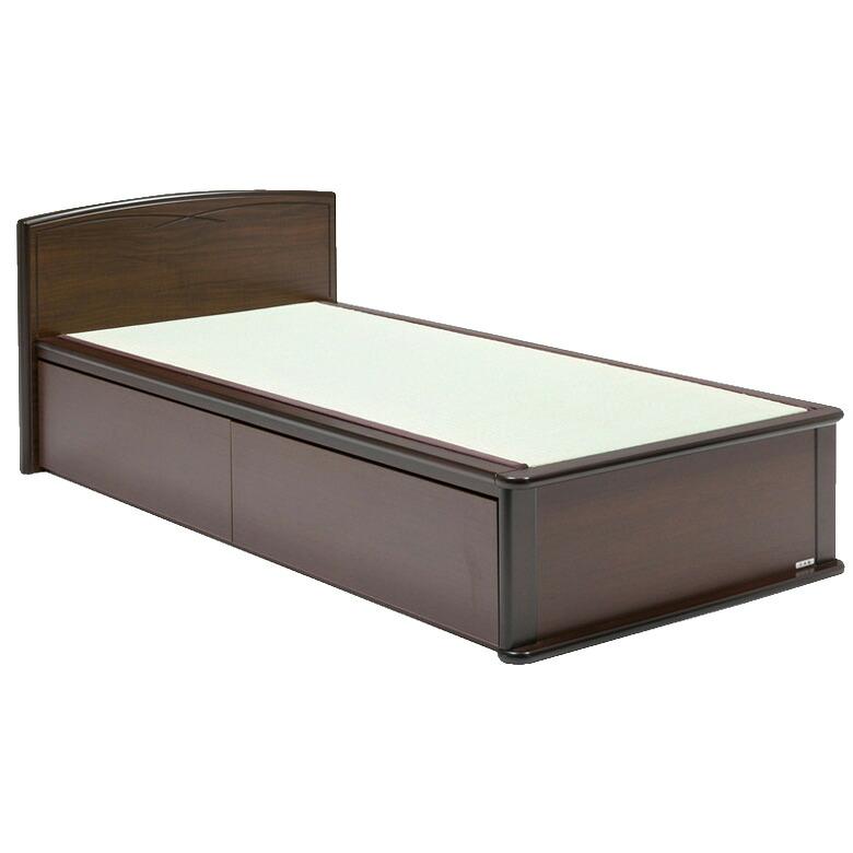 国産 日本製 畳ベッド 引出付 収納付 引出しレール シングル たたみベッド Fフォースター シングルベッド スタンダード 木製 ベッド ベット ダークブラウン 大人 高齢者 和室 和モダン