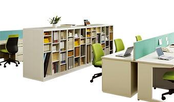 オープン可動棚収納ボックス 3列3段9人用設置例