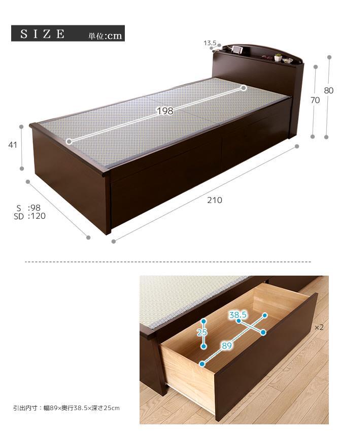 棚コンセント付畳ベッド セミダブルSEKISUI「美草」グリーン 収納ベッド