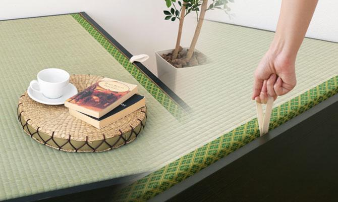 い草張り収納ベッド 床板取っ手画像