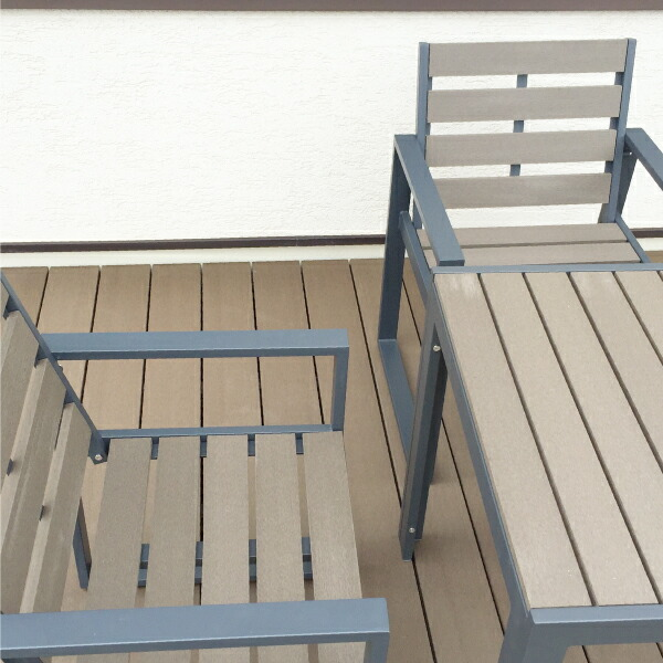 人工木テーブル正方形 チェア2脚セット