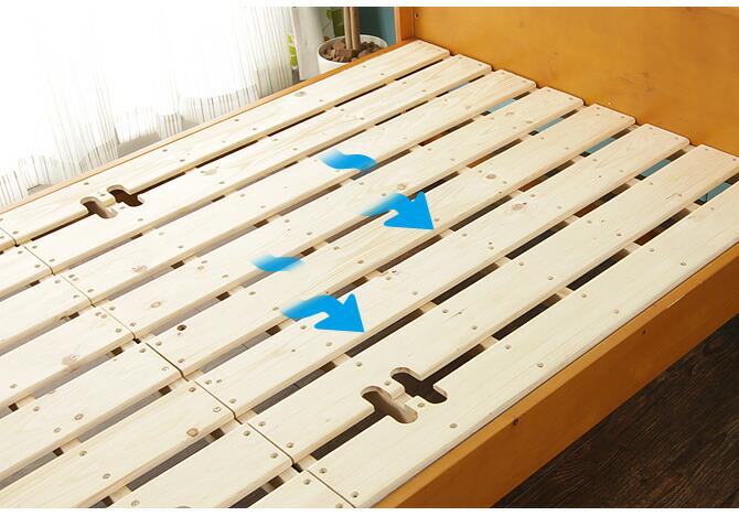 棚・コンセント2口 すのこベッド シングル 床板が通気性のいいすのこ仕様