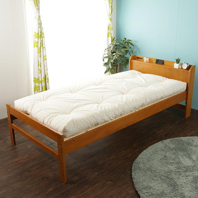 棚・コンセント2口 すのこベッド シングル 敷き布団でもお使いいただけます