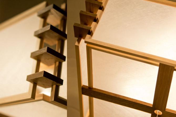 和モダン照明 架シーリングライト 静岡の職人手作り。天然木材と和紙(ワーロン)を組み合わせた和モダン照明