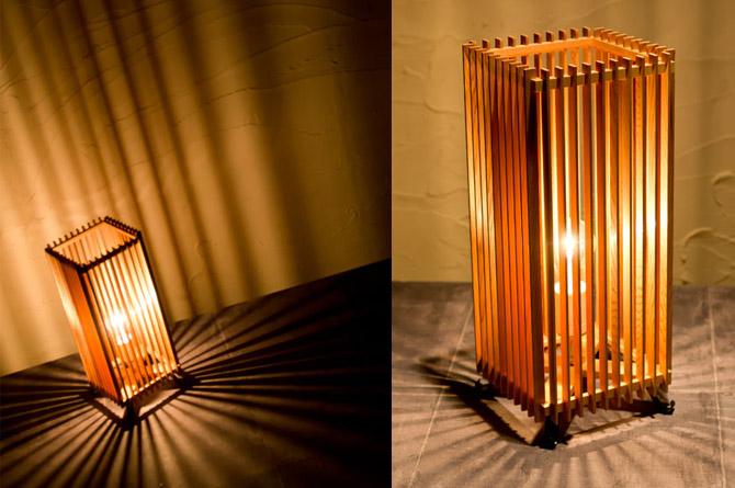 和モダン照明 簾フロアライト 静岡の職人手作り。天然木・杉材と和紙(ワーロン)を組み合わせた和モダン照明