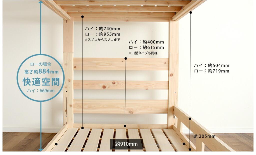 コンパクト二段ベッドのサイズ詳細その2