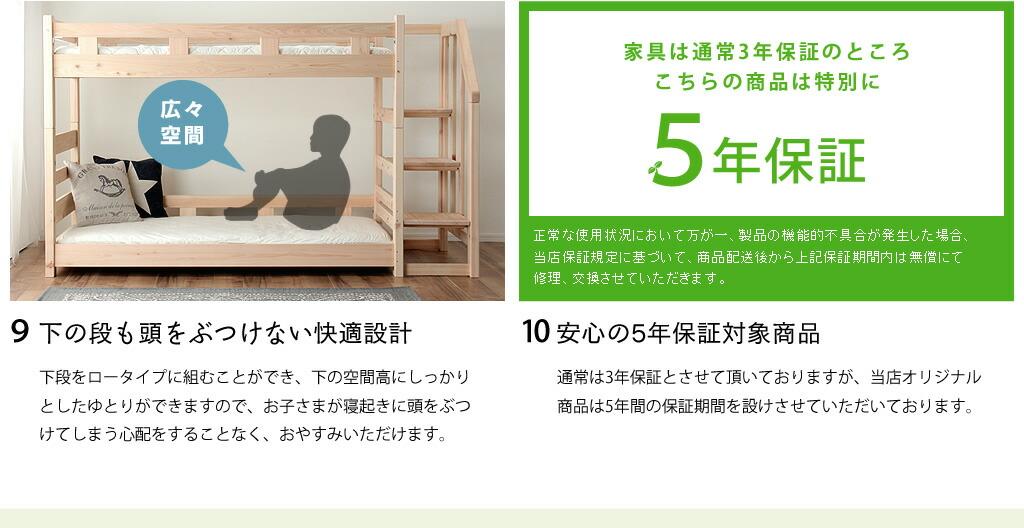 こちらの二段ベッドの8つの安心ポイント(後半)