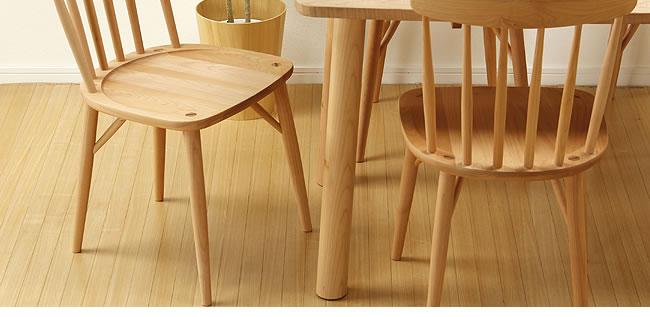 ダイニング_メープル材の質感が爽やかな木製ダイニングチェアー_板座_02