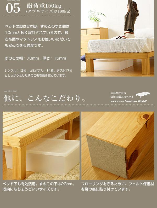 桧すのこベッド|耐荷重・収納・床保護