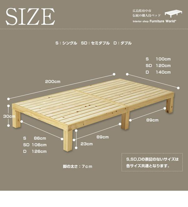 桧すのこベッド|サイズ