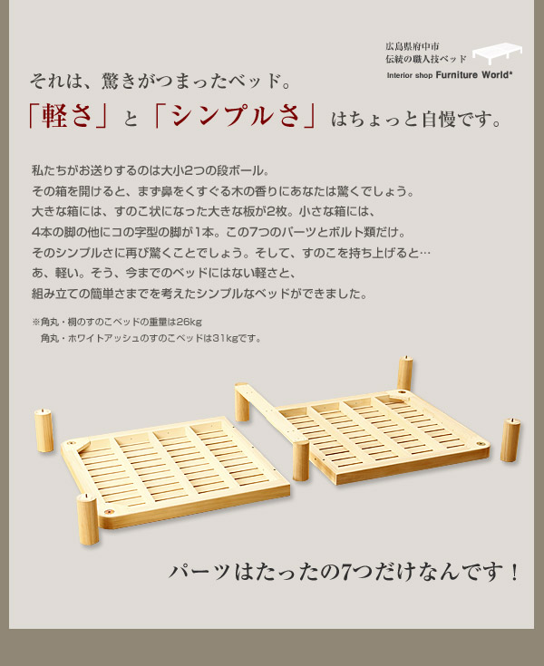 角丸すのこベッド|特徴