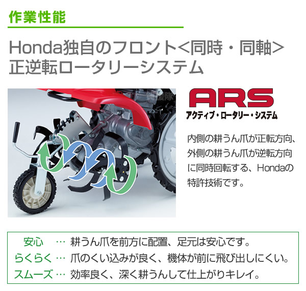 Honda独自のフロント(同時・同軸)正逆転ロータリーシステム
