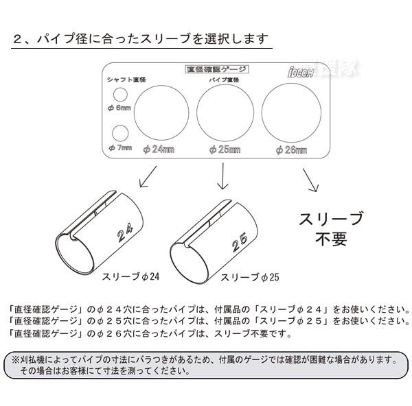 2.パイプ径に合ったスリーブを選択します