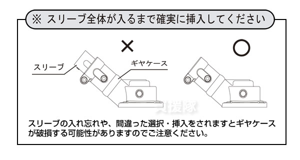 注意、スリーブ全体が入るまで確実に挿入してください
