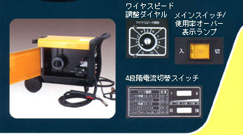 ワイヤスピード調整ダイヤル。メインスイッチ/使用率オーバー表示ランプ。4段階電流切替スイッチ