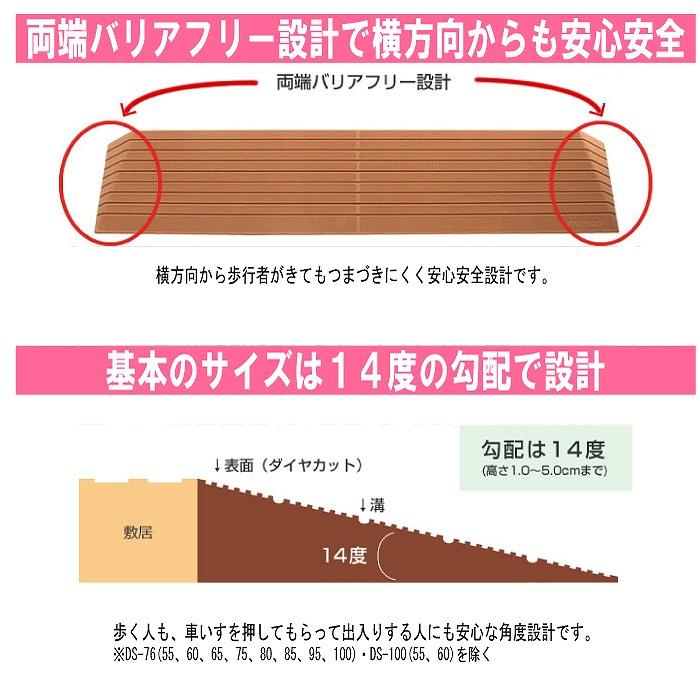 【ポイント10倍セール実施中!】 「ダイヤスロープ」 10P03Dec16 (シンエイテクノ) (幅76cm×高さ7cm) 【送料無料】 (奥行27.3cm×有効幅66cm×勾配14度) 硬質ゴム製すべり止め段差解消スロープ
