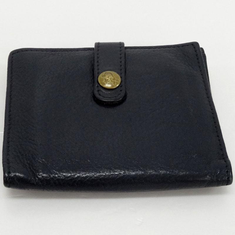 IL BISONTE イルビゾンテ 二つ折り財布/カラー:ブラック/レザー《財布/ウォレット》【服飾小物】【中古】【山城店】