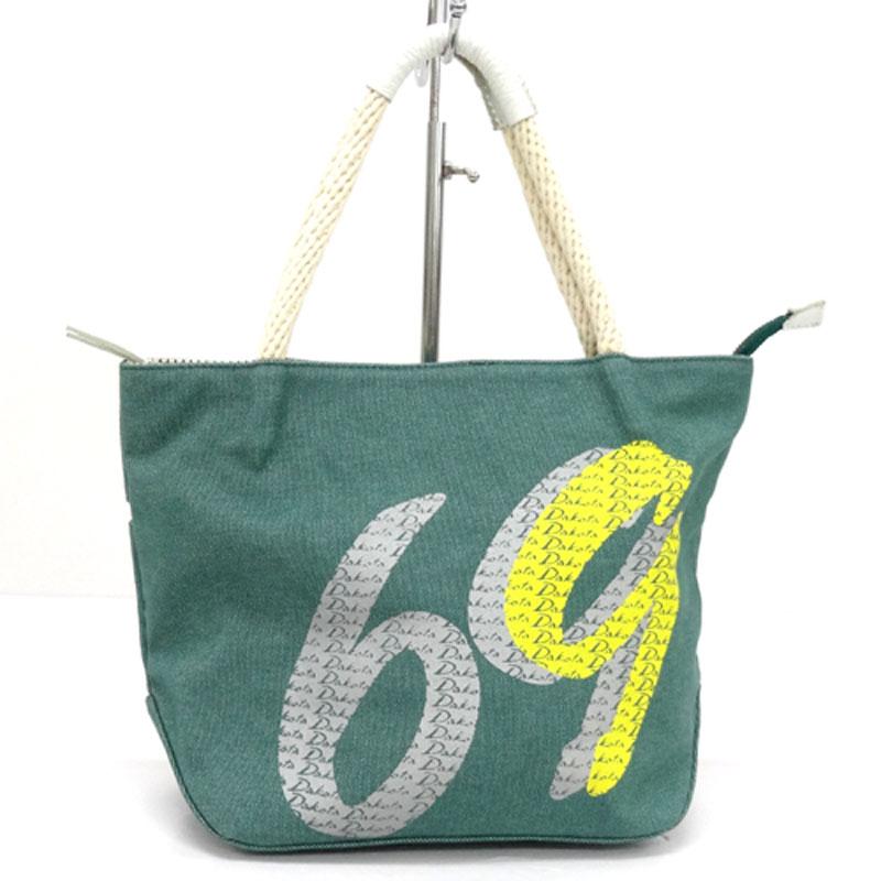 【中古】【レディース古着】Dakota ダコタ ナンバリング トートバッグ カラー:グリーン系/鞄/ハンドバッグ/数字/ロゴ/バッグ【山城店】