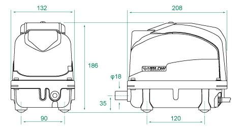 テクノ高槻 ハイブロー XP 浄化槽用ブロア エアーポンプ ブロワ [小型・中型エアーポンプ]