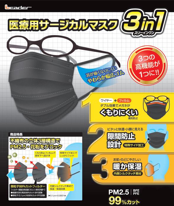 ーダー医療用サージカルマスク 3in1ブラック