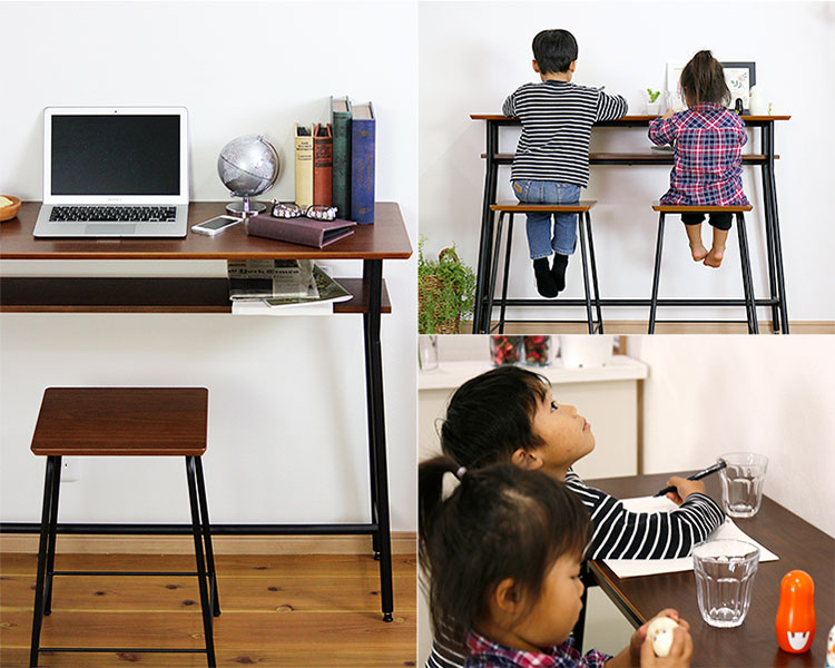 ウォールナット天然木のカウンターテーブル 作業デスクやお勉強スペースに