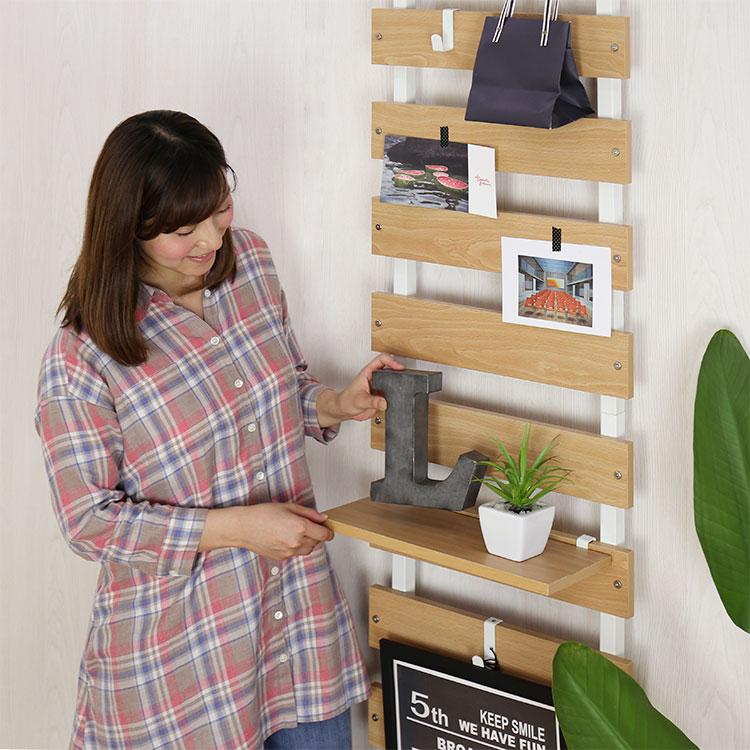 木製突っ張り飾り棚 45cm幅 寂しい壁が一気に変身!