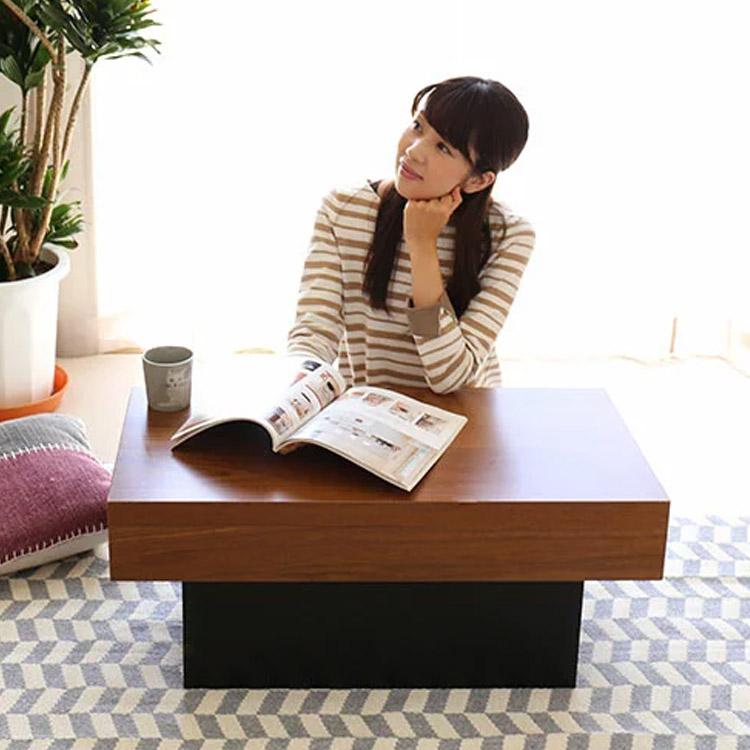天然木ウォールナット突板を贅沢に使い、究極にシンプルに仕上げたセンターテーブル。木の素材感を大切に、直線でスタイリッシュな見た目ながら、どこか温かみを感じることができます。
