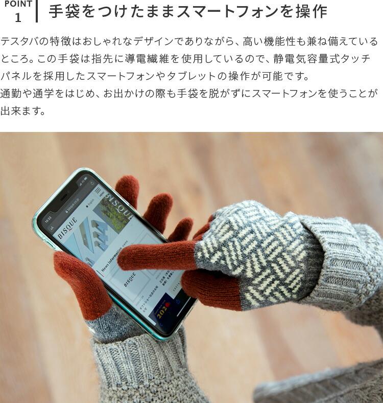 テスタバ 男女兼用 スマートフォン対応 手袋 タッチグローブ