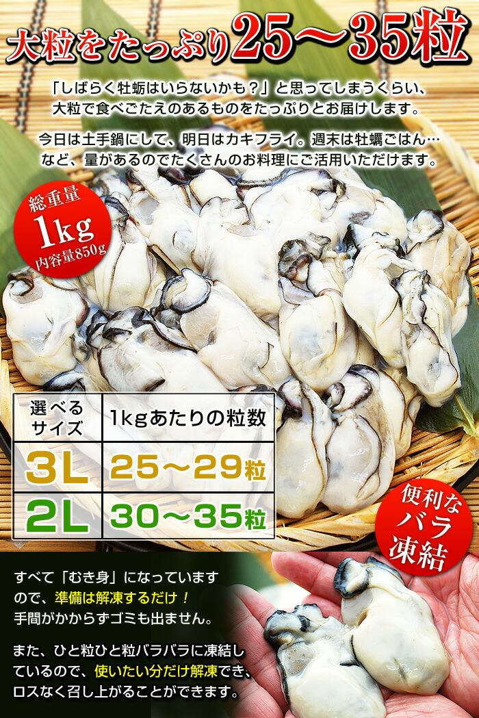 「しばらく牡蛎はいらないかも?」と思ってしまうくらい、大粒で食べごたえのあるものをたっぷりとお届けします。今日は土手鍋にして、明日はカキフライ。週末は牡蠣ごはん…など、量があるのでたくさんのお料理にご活用いただけます。さらに、すべて「むき身」になっていますので、準備は解凍するだけ!手間がかからずゴミも出ません。また、ひと粒ひと粒バラバラに凍結しているので、使いたい分だけ解凍でき、ロスなく召し上がることができます。
