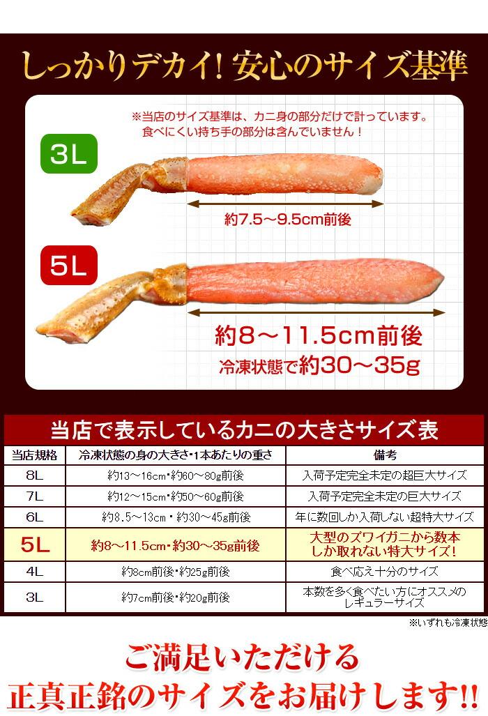 しっかりデカい!釜庄で表示しているカニの大きさサイズ表