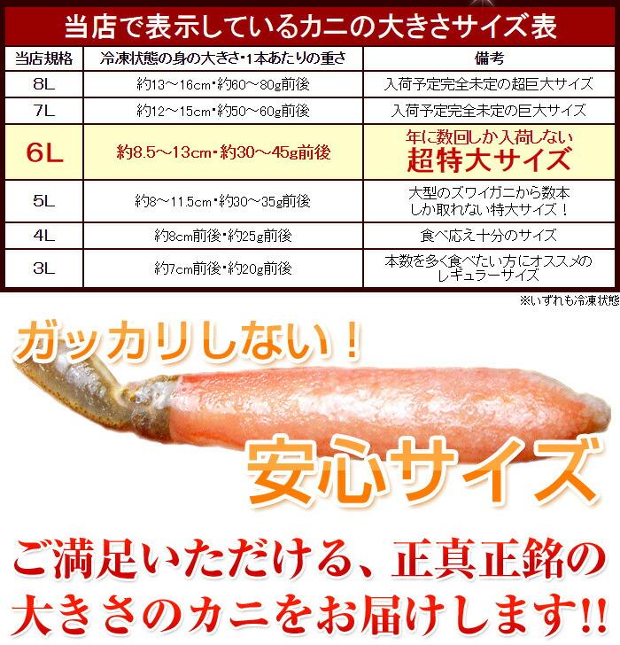 ご安心いただける、正真正銘の大きさの蟹をお届けします!