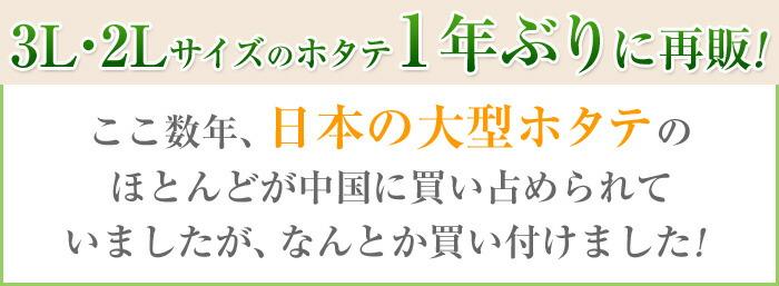 3L・2Lサイズのホタテを1年ぶりに再販!ここ数年、日本の大型ホタテのほとんどが中国に買い占められていましたが、なんとか買い付けました!