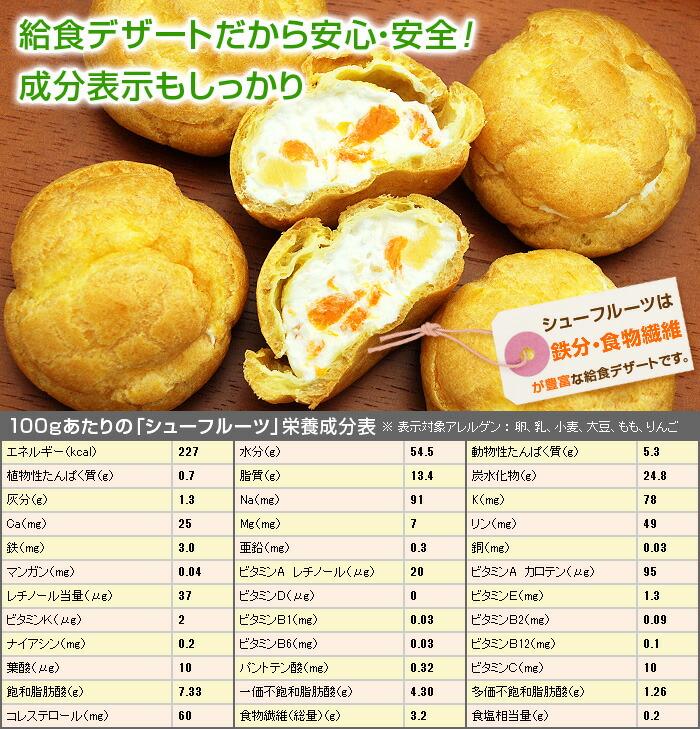 シューフルーツは、鉄分・食物繊維が豊富な給食デザートです。