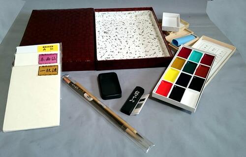 本格絵手紙セット「12色顔彩&青墨と3種類の和紙ハガキを硯箱にセットしました」「コレ一つで初心者から本格絵てがみセット」【楽ギフ_包装】(4973163834361)