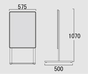 オープンパネルスタンド直立タイプA2 片面図