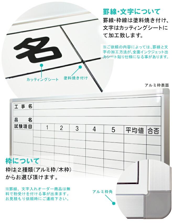 特注マーカーボードの罫線・文字入れ加工無料お見積り致します
