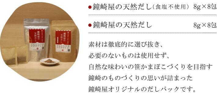 素材は徹底的に選び抜き、必要のないものは使用せず、自然な味わいの笹かまぼこづくりを目指す鐘崎のものづくりの思いが詰まった鐘崎屋オリジナルのだしパックです。