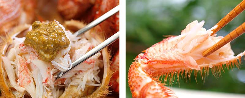 蟹身と蟹味噌を絡めて食べて下さい