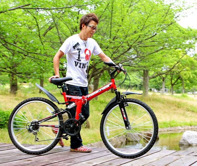 26インチ 折りたたみ マウンテンバイク グリーン シマノ6段変速 Wサス 折りたたみ自転車 MTB Raychell レイチェル OTMTB-266R