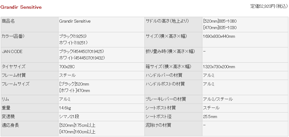 700C ロードバイク Grandir Sensitive [シマノ21段変速 セーフティーレバー  自転車 Raychell+ レイチェルプラス ]