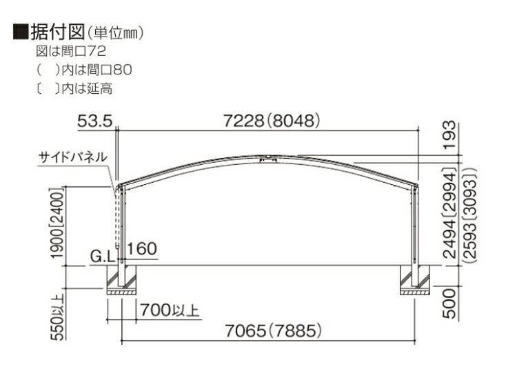 シンプルカーポート3台用寸法図1