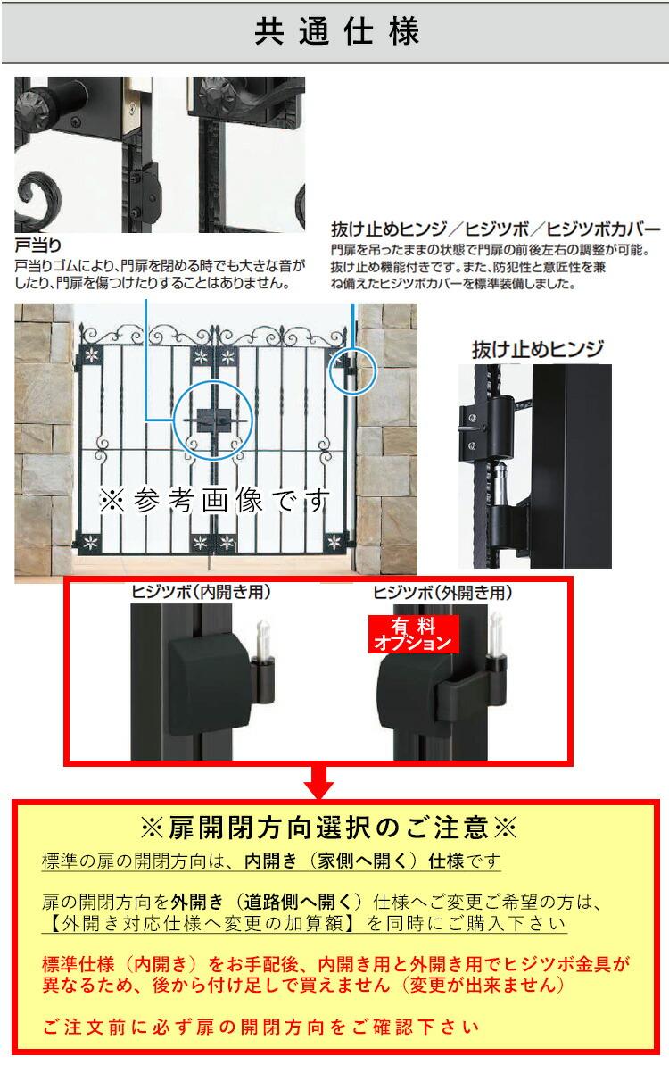 ヒジツボ(門扉を吊ったままの状態で、前後左右の調整がドライバー1本で可能)