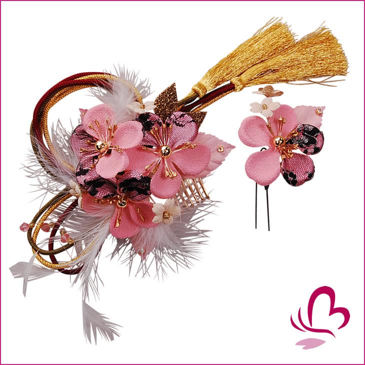 【組紐付き花髪飾り】ピンクはこちら