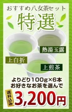 おすすめ八女茶セット特選(上煎茶・上白折・熱湯玉露からよりどり100g×5本お好きなお茶を選んで送料込み3200円)
