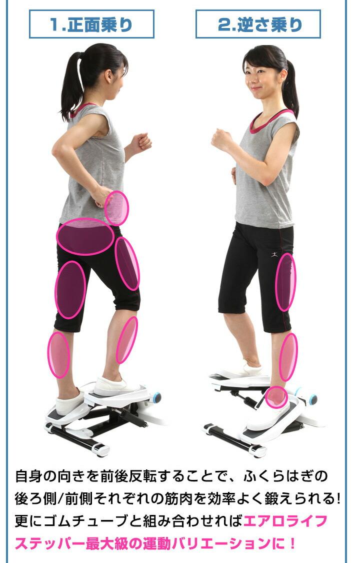 自信の向きを前後反転することで、ふくらはぎの後ろ側/前側それぞれの筋肉を効率よく鍛えられる!更にゴムチューブと組み合わせればエアロライフステッパー最大級の運動バリエーションに!