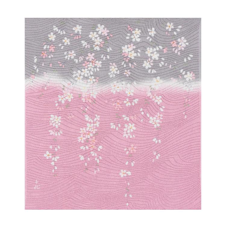 レーヨンの風呂敷 宇野千代の愛した桜の風呂敷 紅しだれ桜 45cm(銀ネズ)