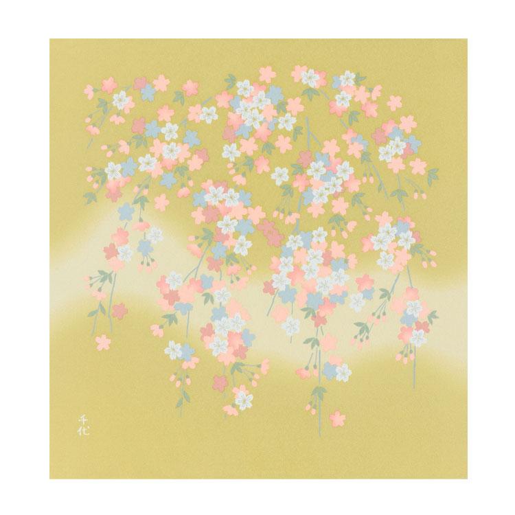 化合繊の風呂敷 宇野千代の愛した桜のふろしき 乙女桜70cm