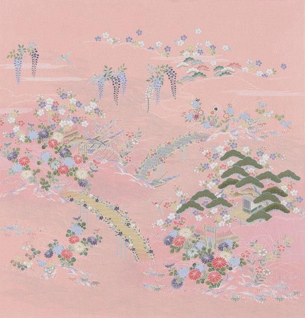 【送料無料+桐箱付】絹の風呂敷(ふろしき)華御所解90cm