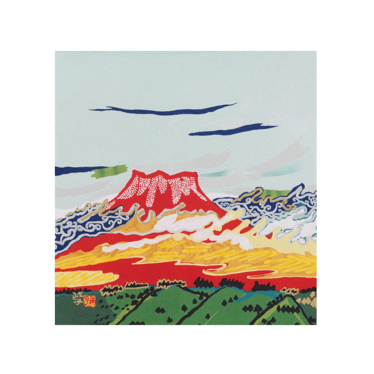 【送料無料+桐箱付】絹の風呂敷(ふろしき)片岡球子・天平雲に富士山45cm